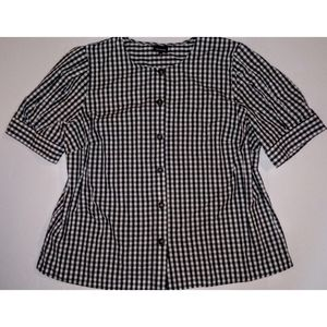 3/$24 WhoWhatWear Puff Sleeve Gingham Buttoned Top